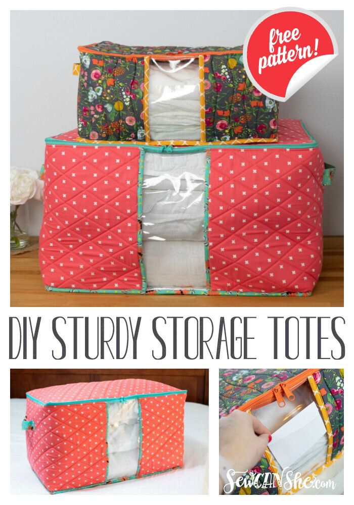DIY Sturdy Storage Totes - free sewing pattern in 2 sizes! — SewCanShe | Free Sewing Patterns and Tutorials