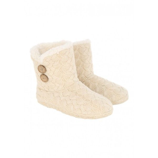 Womens Cable Knit Slipper Boots 115 Sek Liked On Polyvore