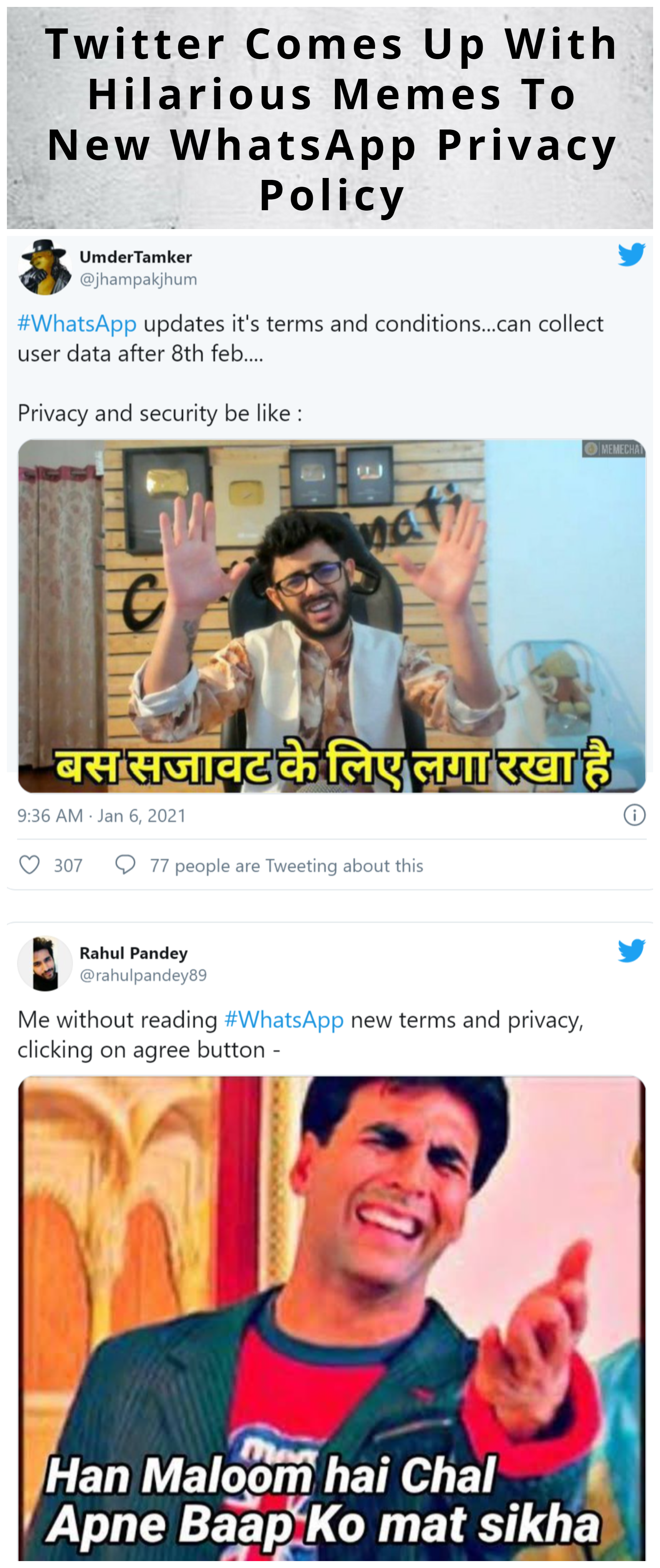 Twitter Comes Up With Hilarious Memes To New Whatsapp Privacy Policy In 2021 Funny Memes Hilarious Memes