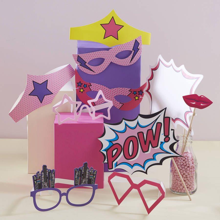Pink Superhero Pop Art Photo Booth Props | Photo booth, Superhero ...