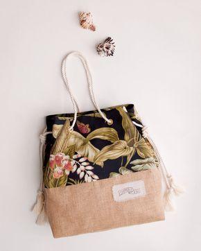 Negro Tropical Beach Bag / bolsa de yute impresión de la Palma / la bolsa de arena