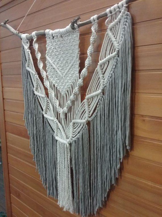 extra large macrame wall hanging natural grey boho on macrame wall hanging id=50646