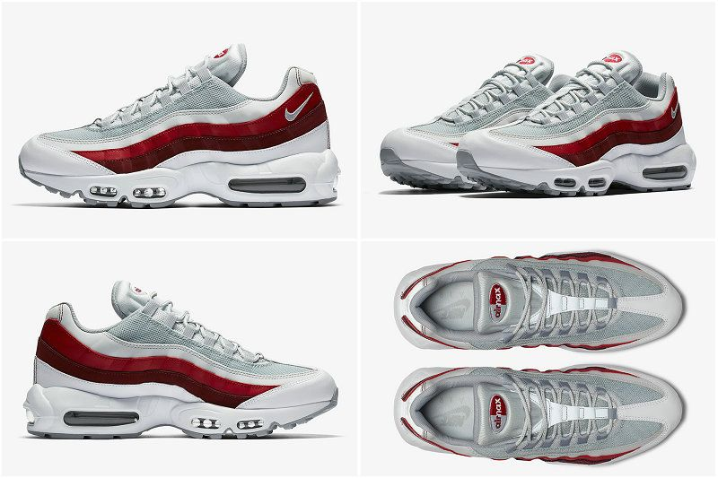 reputable site d6e51 c0397 2017-2018 Hot Sale NIKE AIR MAX 95 REVERSE COMET White Wolf Grey Pure  Platinum Team Red 378037-003
