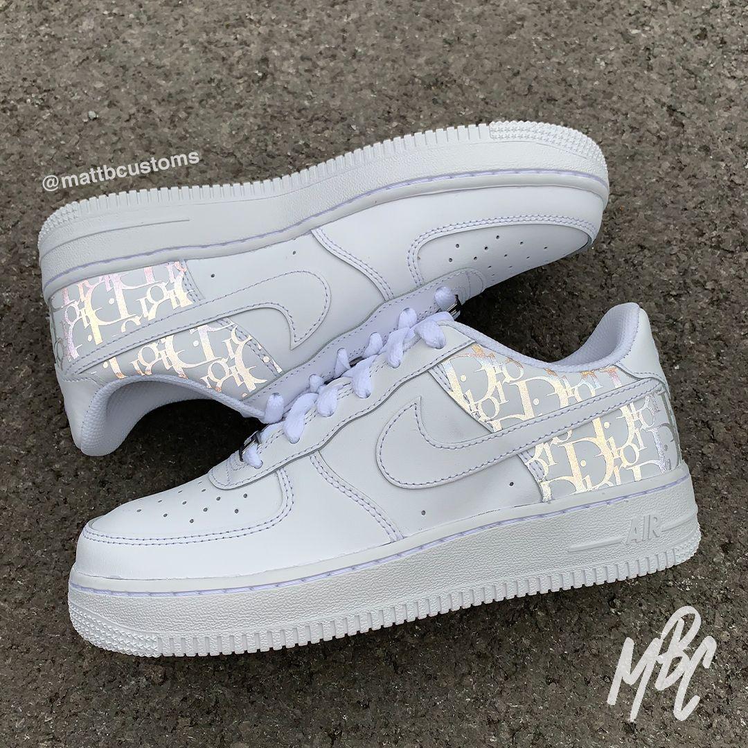 NIKE AF1 REFLECTIVE DIOR in 2020 Nike, White nikes
