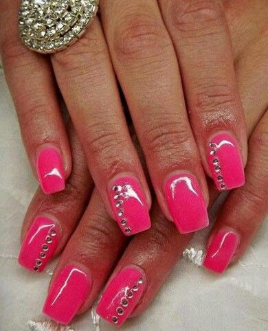 simple rhinestones  rhinestone nails nails nail art