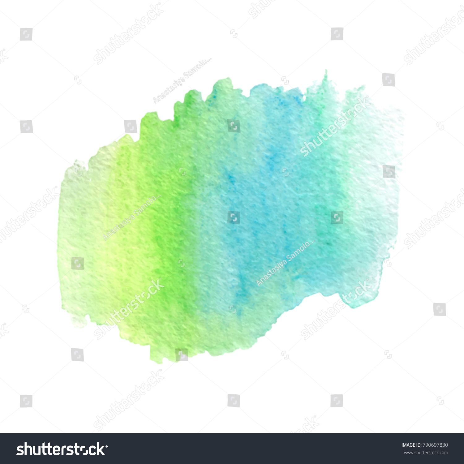 Green Blue Yellow Color Brush Paint Vector Wet Stain Watercolor