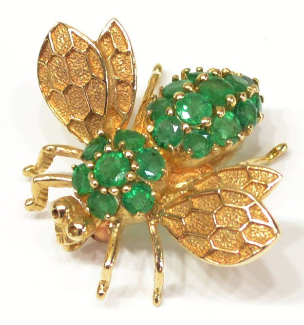 LARGE LADIES 14KT GOLD & EMERALD BEE PIN / BROOCH