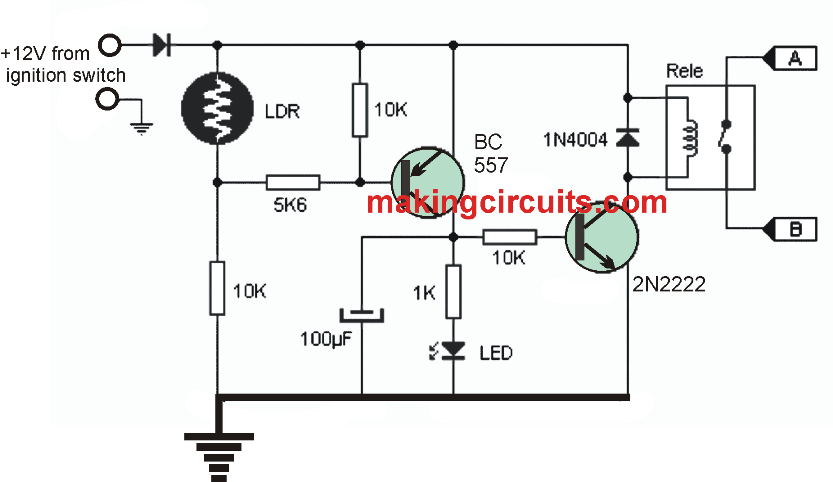 In This Post We Learn How To Make A Simple Automatic Day Night Activated Car Headlamp Circuit The Circuit Uses A Ldr For Circuit Automatic Cars Car Headlights