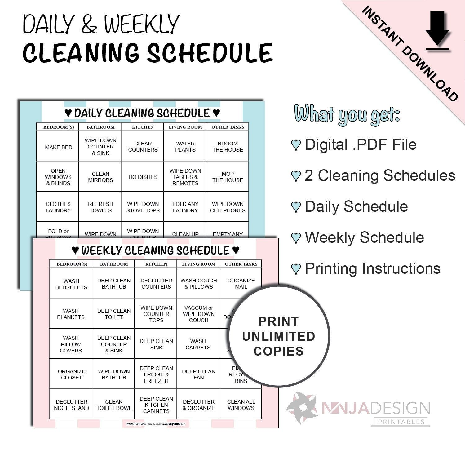 Daily Amp Weekly Cleaning Schedule Cleaning List Chart