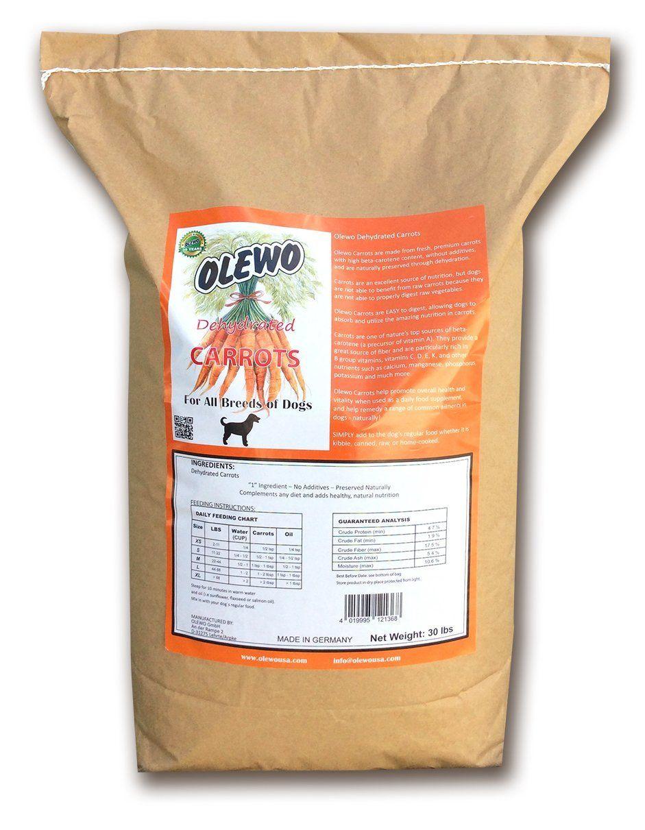 Olewo Carrots Dog Food Supplement Breeder Bag 30 Pounds