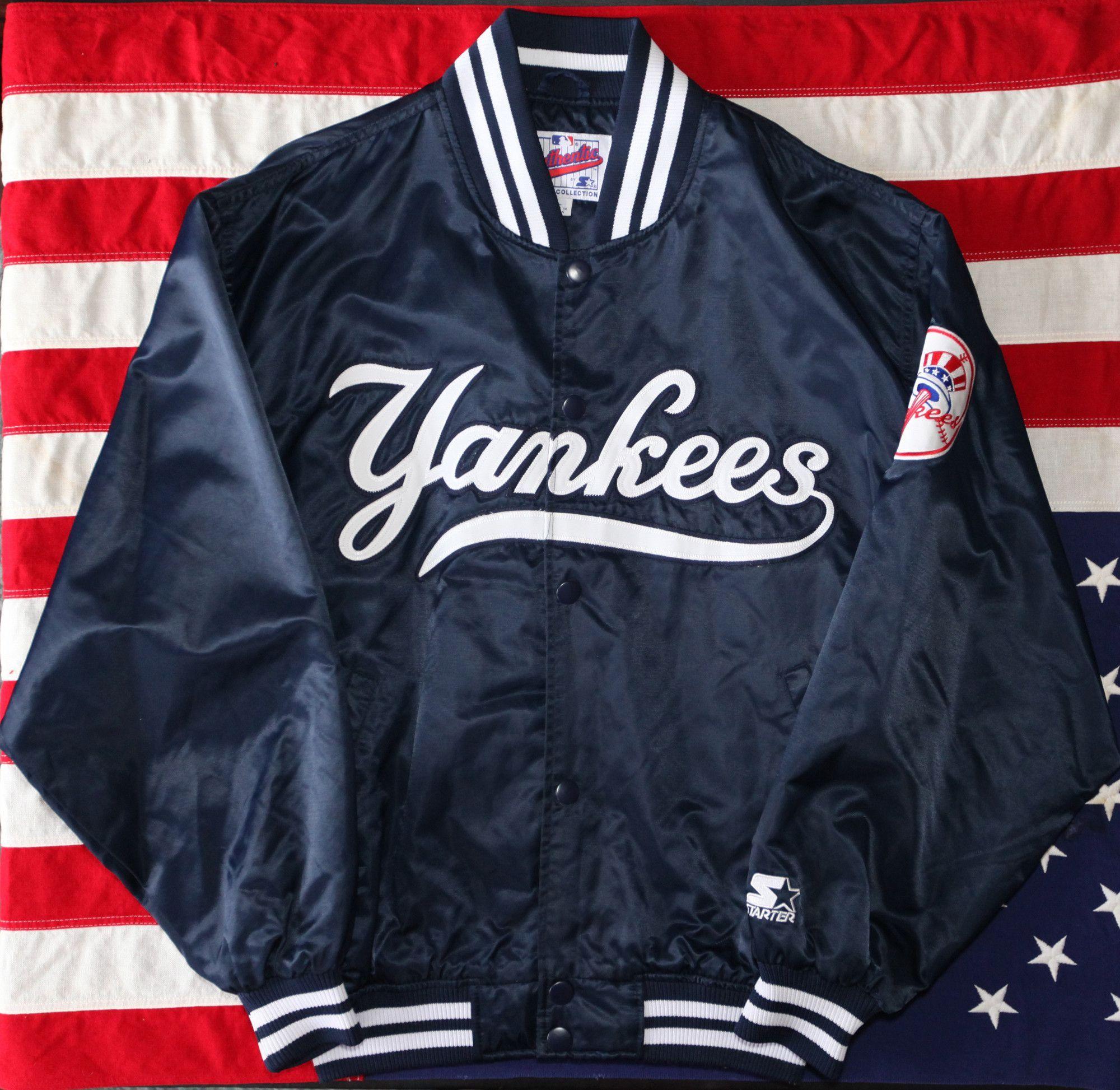 Vintage 90's New York Yankees Starter Satin Jacket SZ L