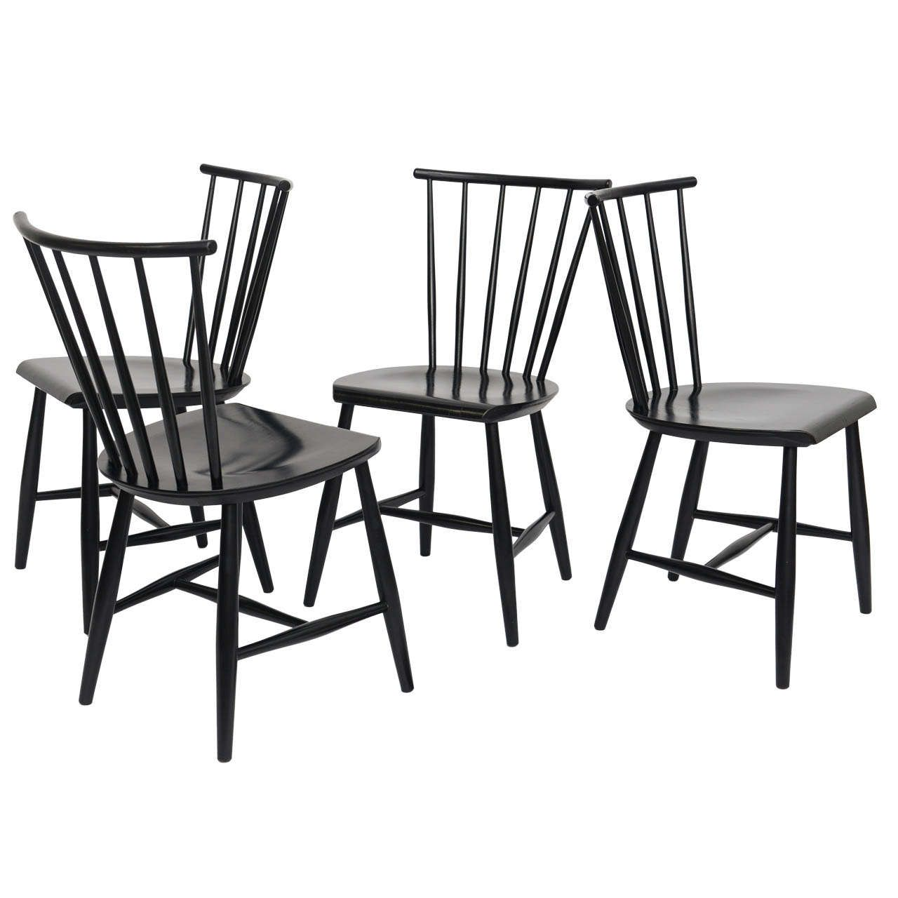 Four 1950s Swedish Windsor Style Spindle Back Dining Chairs | Windsor