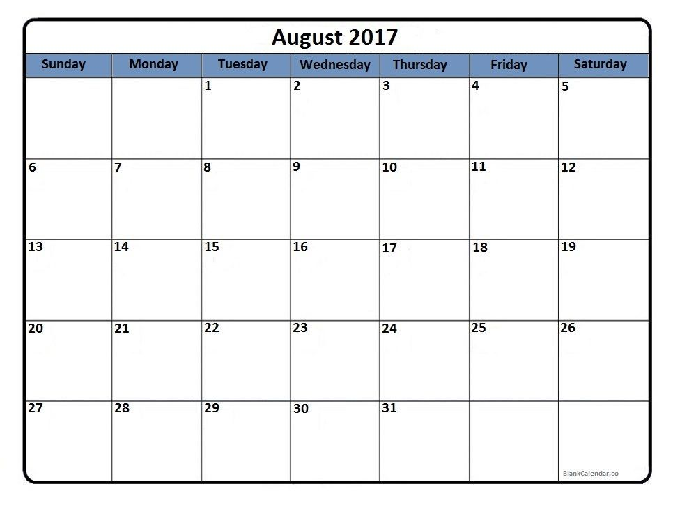 August 2017 printable calendar | 2017 Printable calendars ...