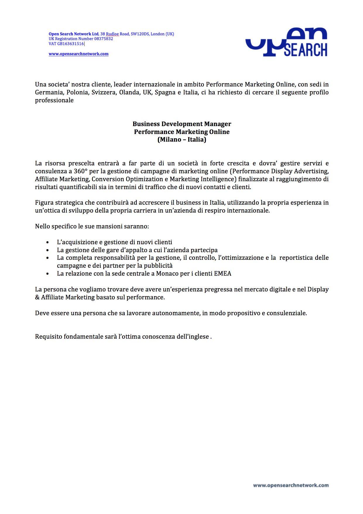 OS_Business Development Manager Performance Marketing Online (Milano – Italia) #Job #OpenSearch #BusinessDevelopmentManager #PerformanceMarketing #Analytics #Milan