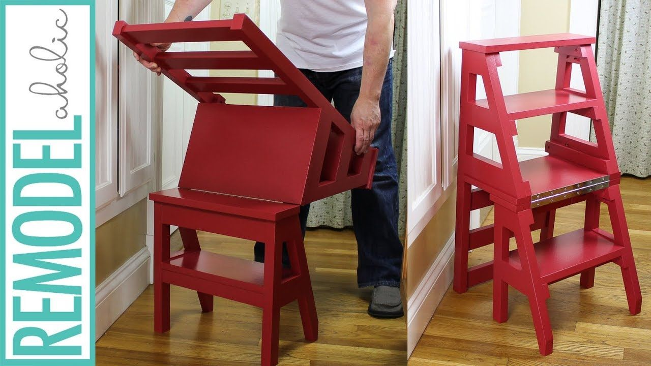 How To Build A Diy Ladder Chair Space Saving Multipurpose Folding Step Video Step Stool Build Diyproject Woodw Ladder Chair Diy Ladder Folding Step Stool