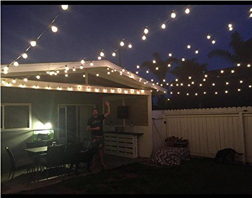 25Ft G40 Globe String Lights With Clear Bulbs, UL Listed Backyard Patio  Lights, Hanging Indoor/Outdoor String Light For Bistro Pergola Deckyard  Tents Market ...