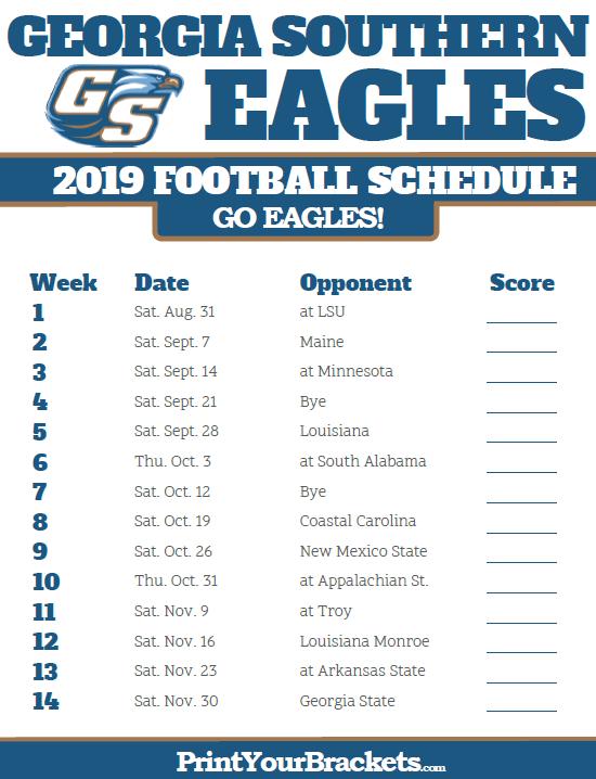Printable Georgia Southern Eagles Football Schedule 2019 Georgia