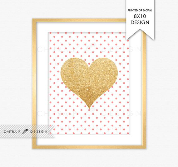 Marion S Coral And Gold Polka Dot Nursery: Coral & Gold Glitter Heart Wall Art