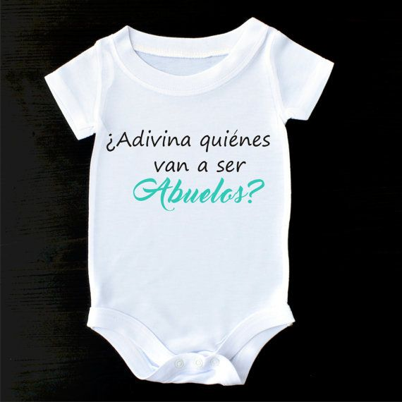 ca8d0f161 Birth Announcement Romper or Gerber Onesie® Pregnancy Announcement to  Grandparents in Spanish by PrintaColada