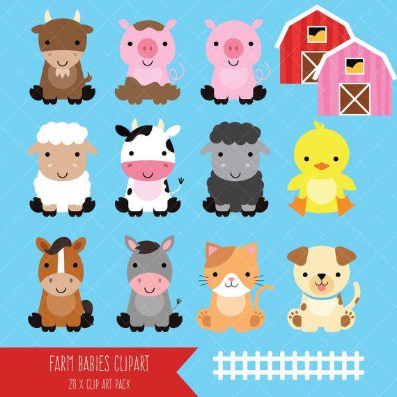 Farm Baby Animals Clipart Cute Animal Clipart Barnyard Animals Baby Farm Animals Cute Animal Clipart Animal Clipart