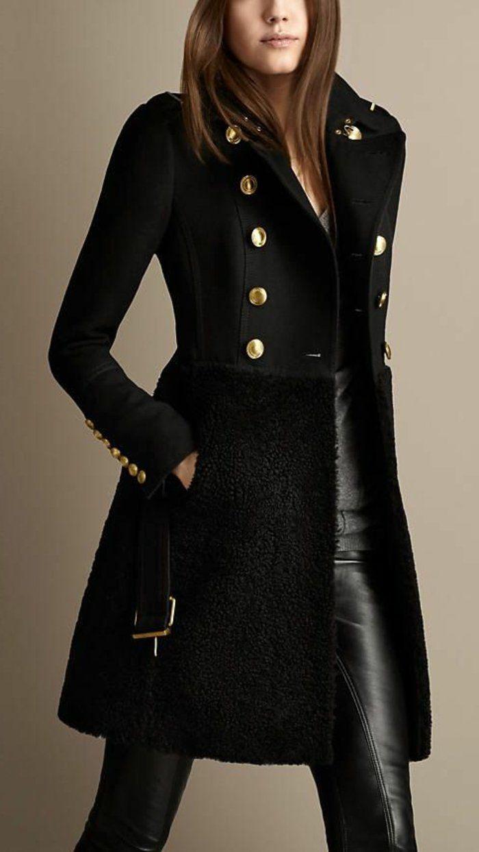 Manteau veste noire femme style militaire   Blousons pour femme 83b2e63eaa5