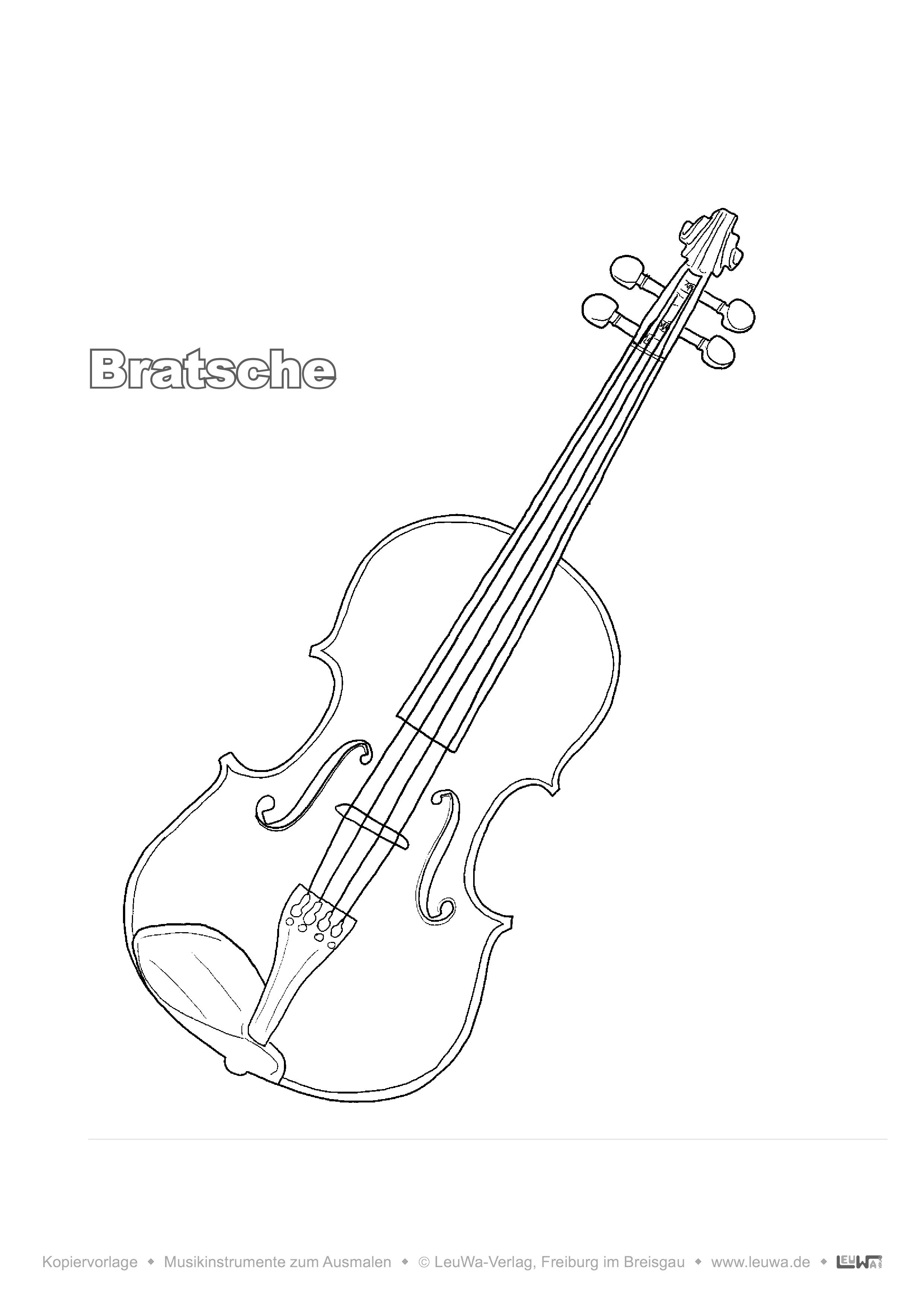 Musikinstrument zum Ausmalen - Bratsche – Unterrichtsmaterial in
