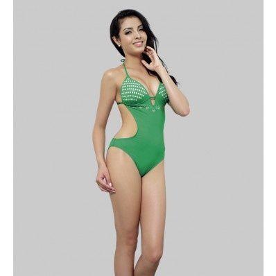 Green Halter Keyhole Print Embroidery Sexy Monokini Swim Wear