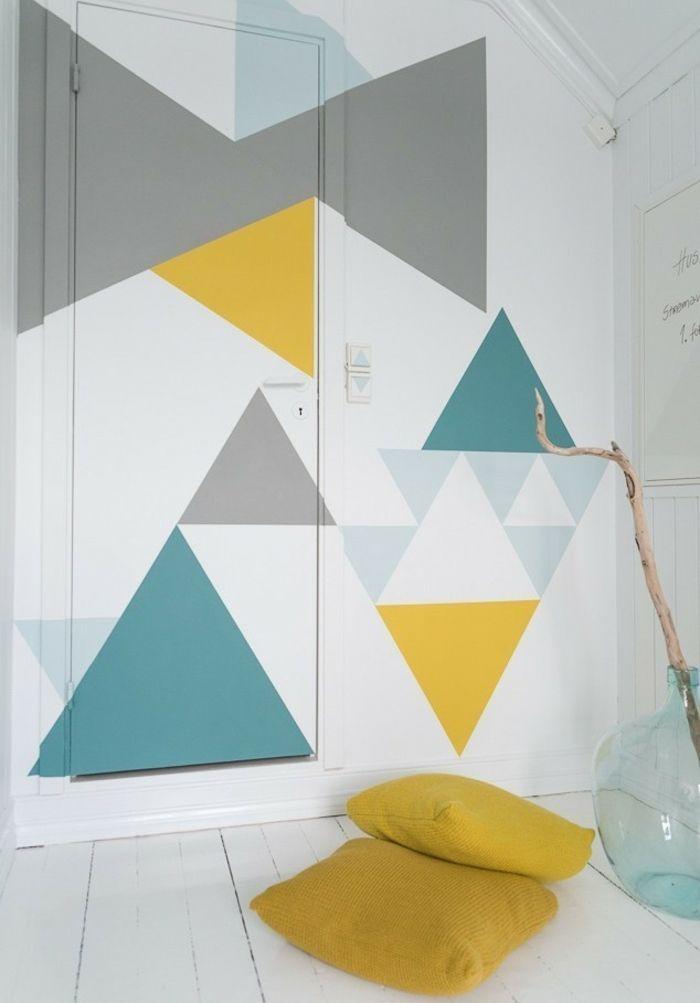 Wandgestaltung Ideen Diy Wanddekoration Bunte Dreiecken
