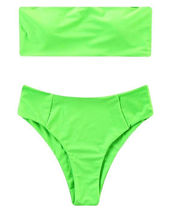 6efecf8a19 Amazon.com: OMKAGI Women's 2 Pieces Bandeau Bikini Swimsuits Off Shoulder  High Waist Bathing