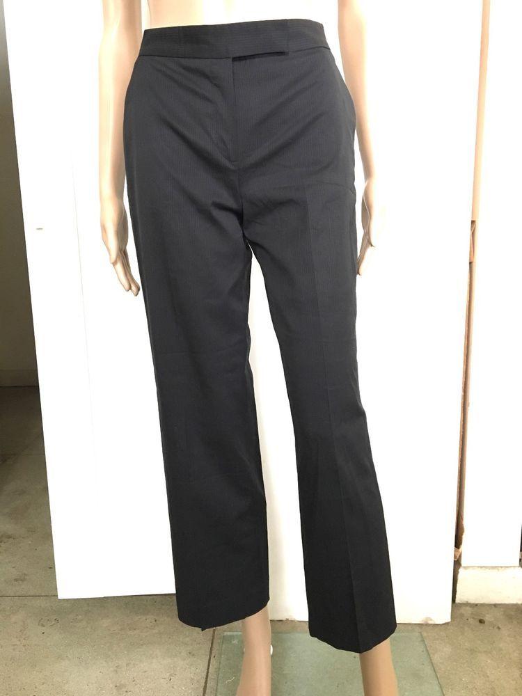 Auth Louis Vuitton Slim Fit Black Pinstriped Uniforms Pants 34 27