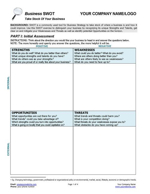 Business Coaching BUSINESS SWOT Analysis – Life Coaching Worksheets
