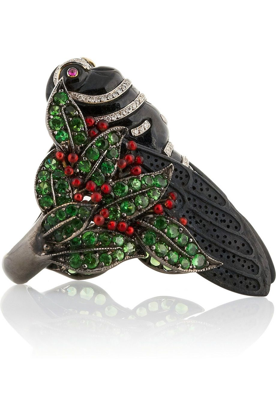 LYDIA COURTEILLE || Bestiary 18K blackened White Gold Multistone Ring 30,880 USD || Lydia Courteille's handmade 18-karat blackened White Gold Ring features a magnificent jewelled Insect Design. Adorned with Pavé Diamonds, Garnets and Red Sapphires, this weighty One-of-a-Kind style is a glimmering conversation piece.