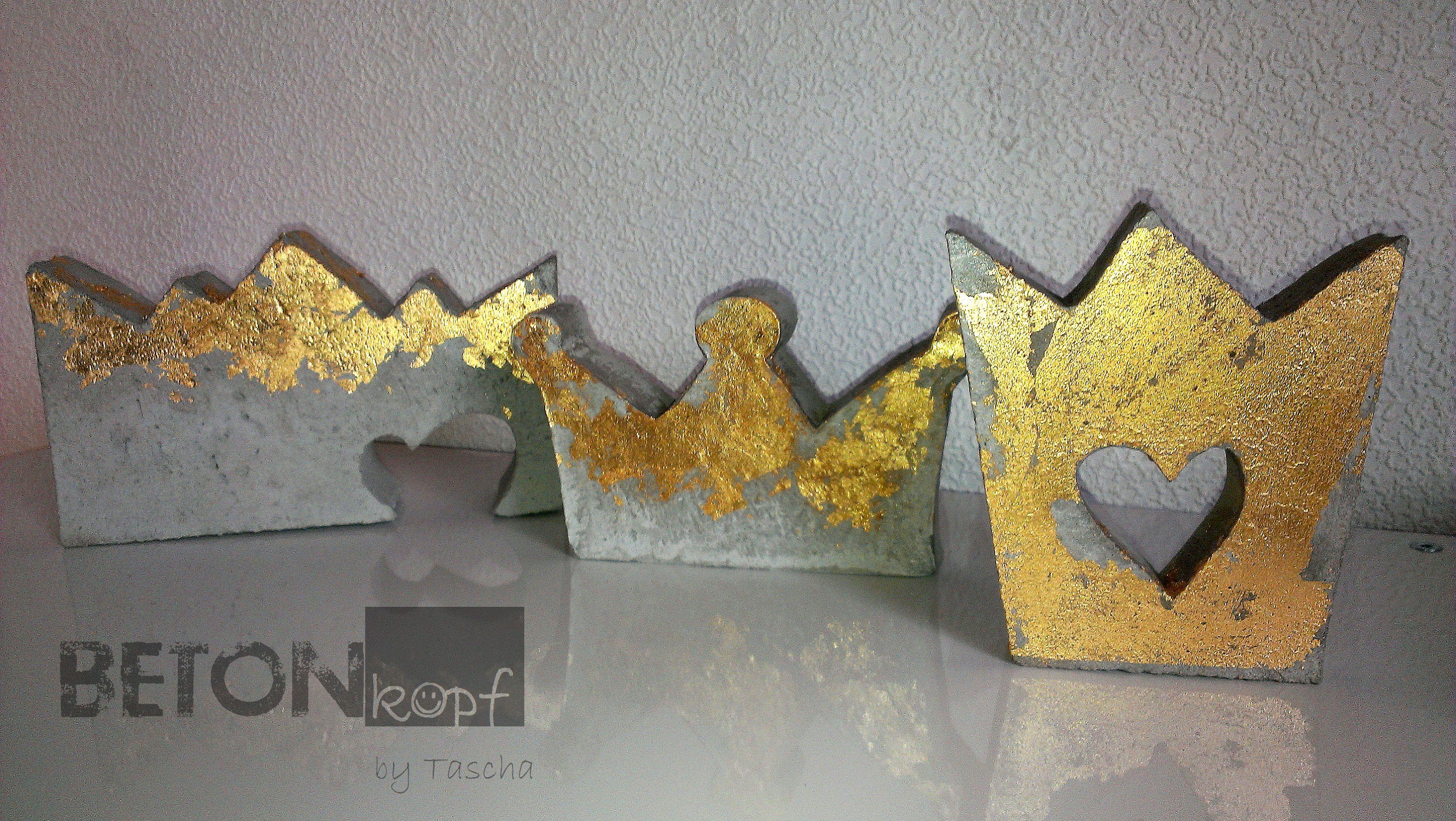 Betonkronen mit blattgold concrete crown with gold foil - Blattgold basteln ...