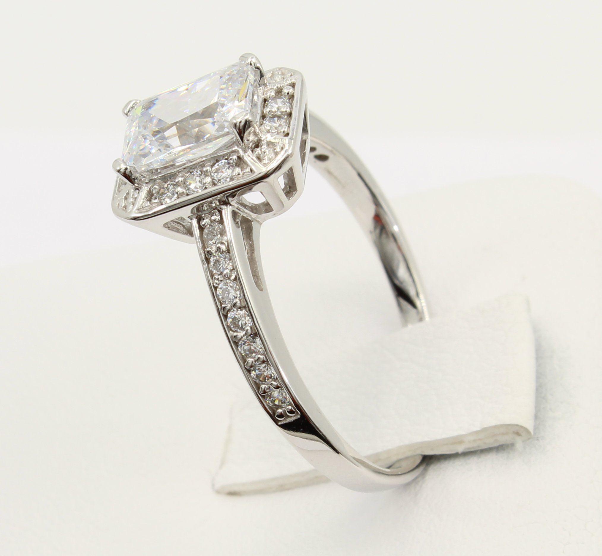 1.50 Ct 14K White Gold Emerald Cut Halo Engagement Wedding Propose Promise Ring