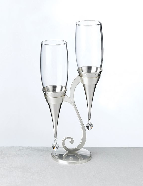 Silver Glass Flutes And Holder Set Toasting Flutes Wedding Wedding Glasses Flute Glass