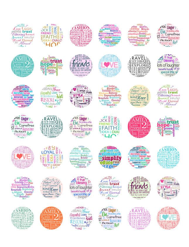 graphic relating to Printable Bottlecap Images called Phrase Collage PRINTABLE Bottle Cap Photos ~ Delight in, Friendship