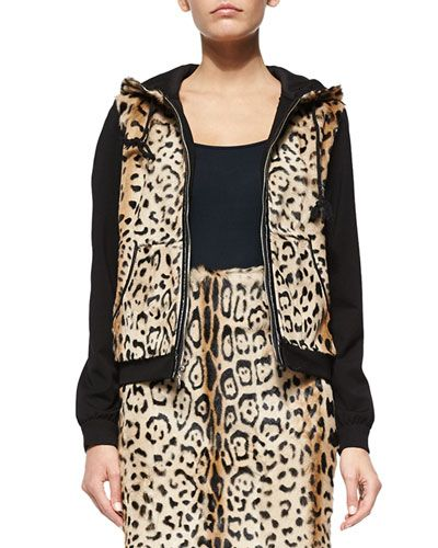 TA9B8 Diane von Furstenberg Elodie Leopard-Print Lamb Fur Jacket