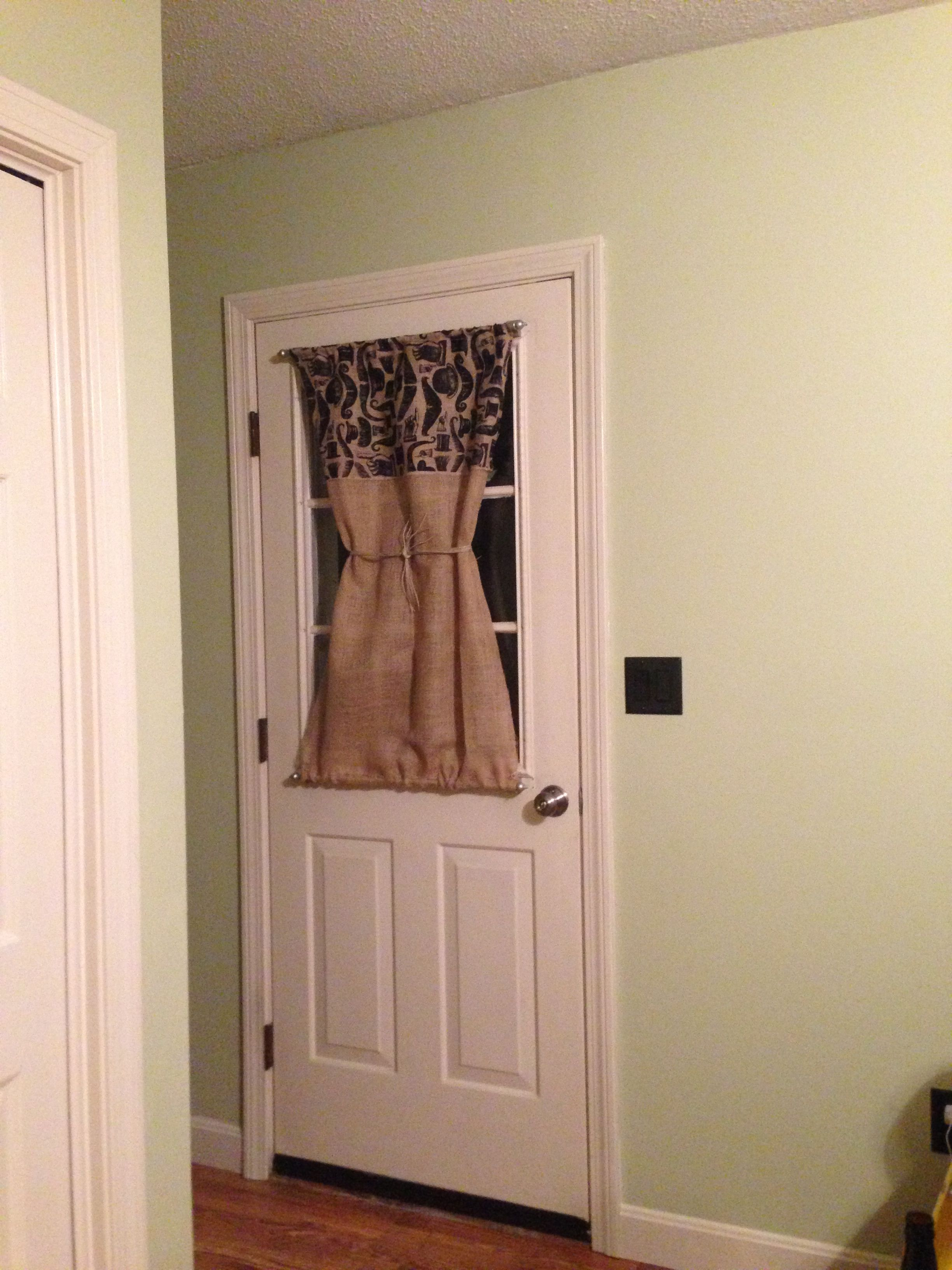 Front Door Curtain Ideas.Burlap Door Curtain With Magnetic Curtain Rods In 2019