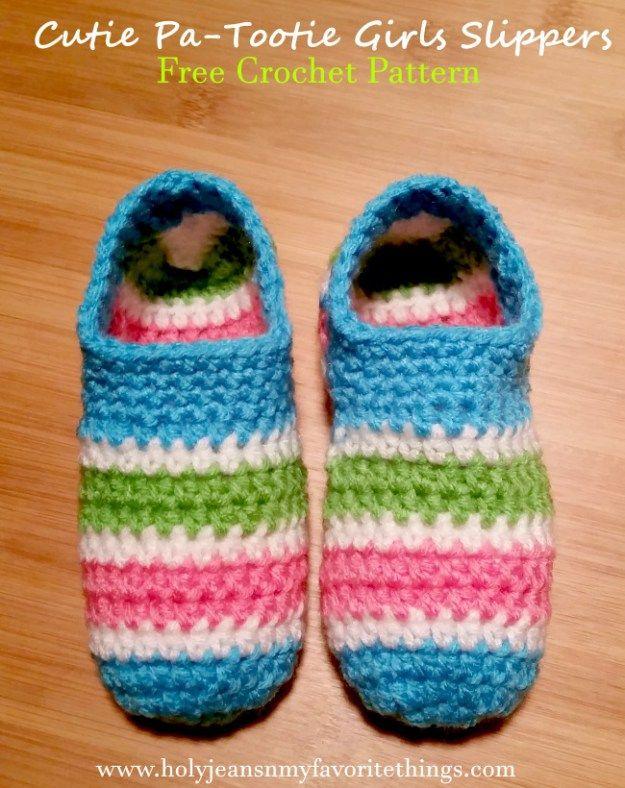 508039ae966 Cutie Patootie Girls Crochet Slippers Pattern