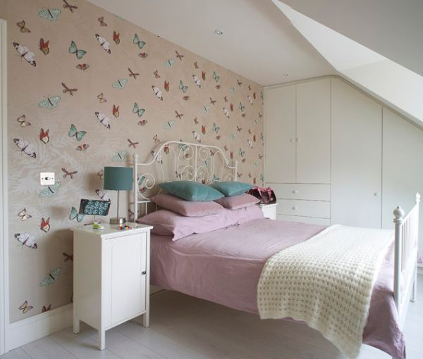 Airy And Serene Bedroom With Delicate Butterflies On The Wall