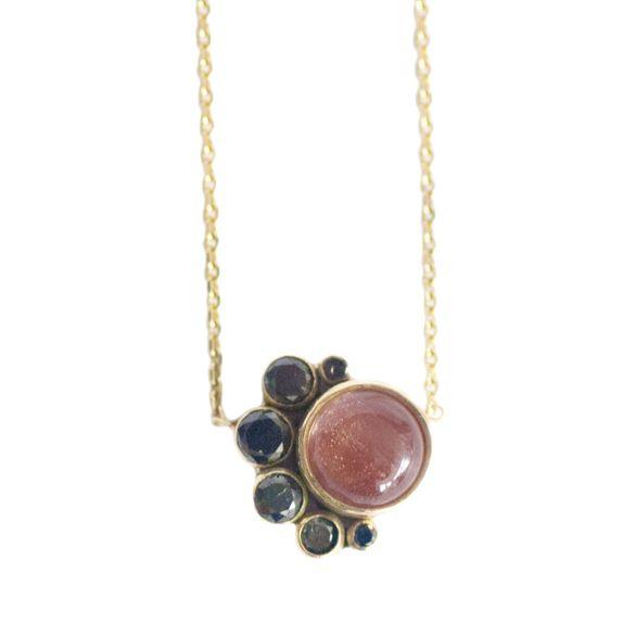 New MOCIUN 2013 collection now online! Sunstone and Black Diamond Crescent Necklace