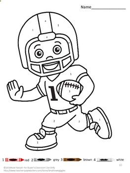 With These Baseball, Basketball And Football Color By Number Coloring  Pages, Students In Preschool