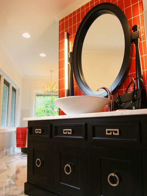 Our Favorite Bright, Bold Bathrooms   Bald hairstyles, Hgtv and Met
