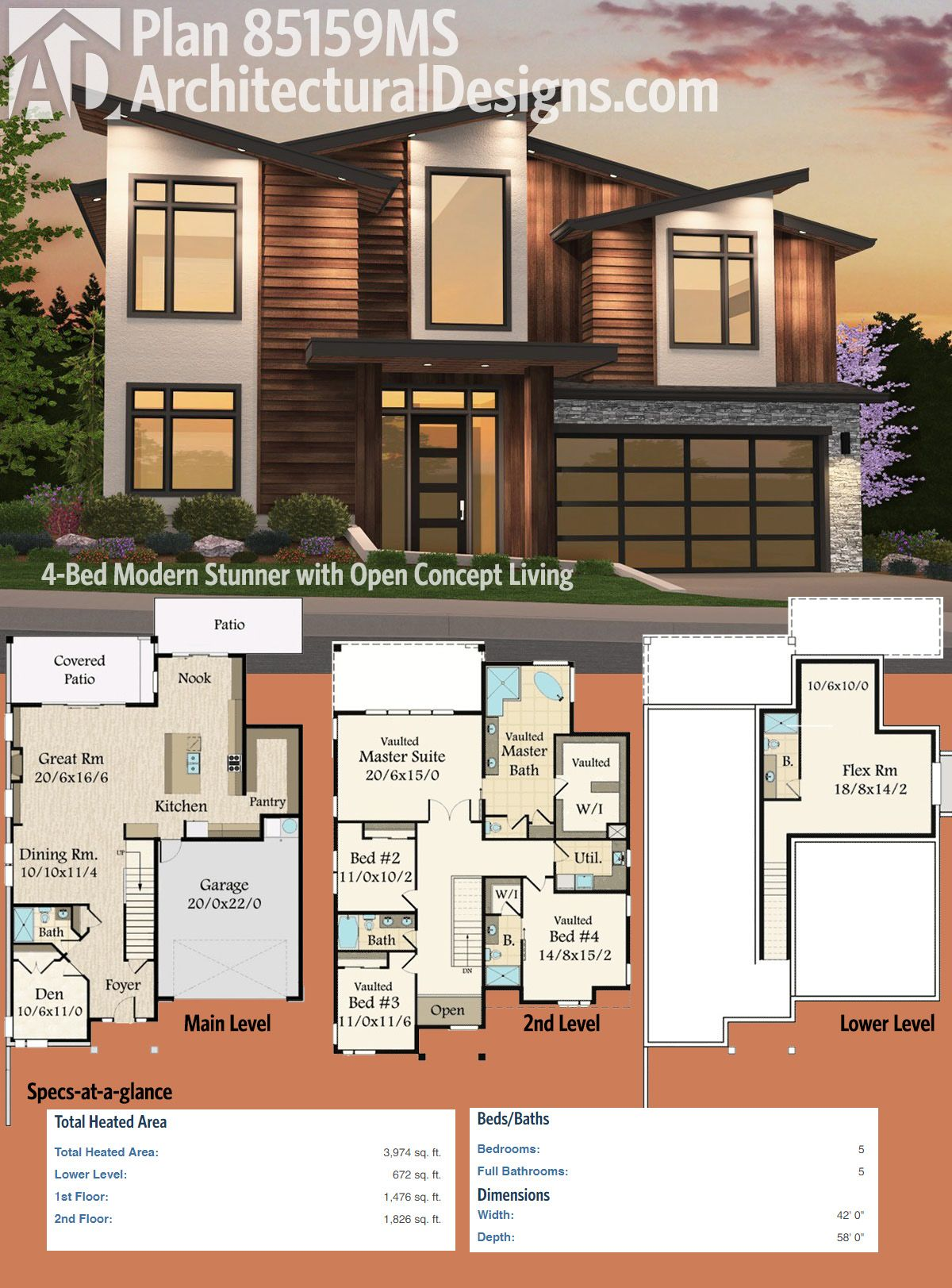 Plan 85159ms 4 Bed Modern Stunner With Lower Level Flex Room Modern House Plans House Plans With Pictures House Plans