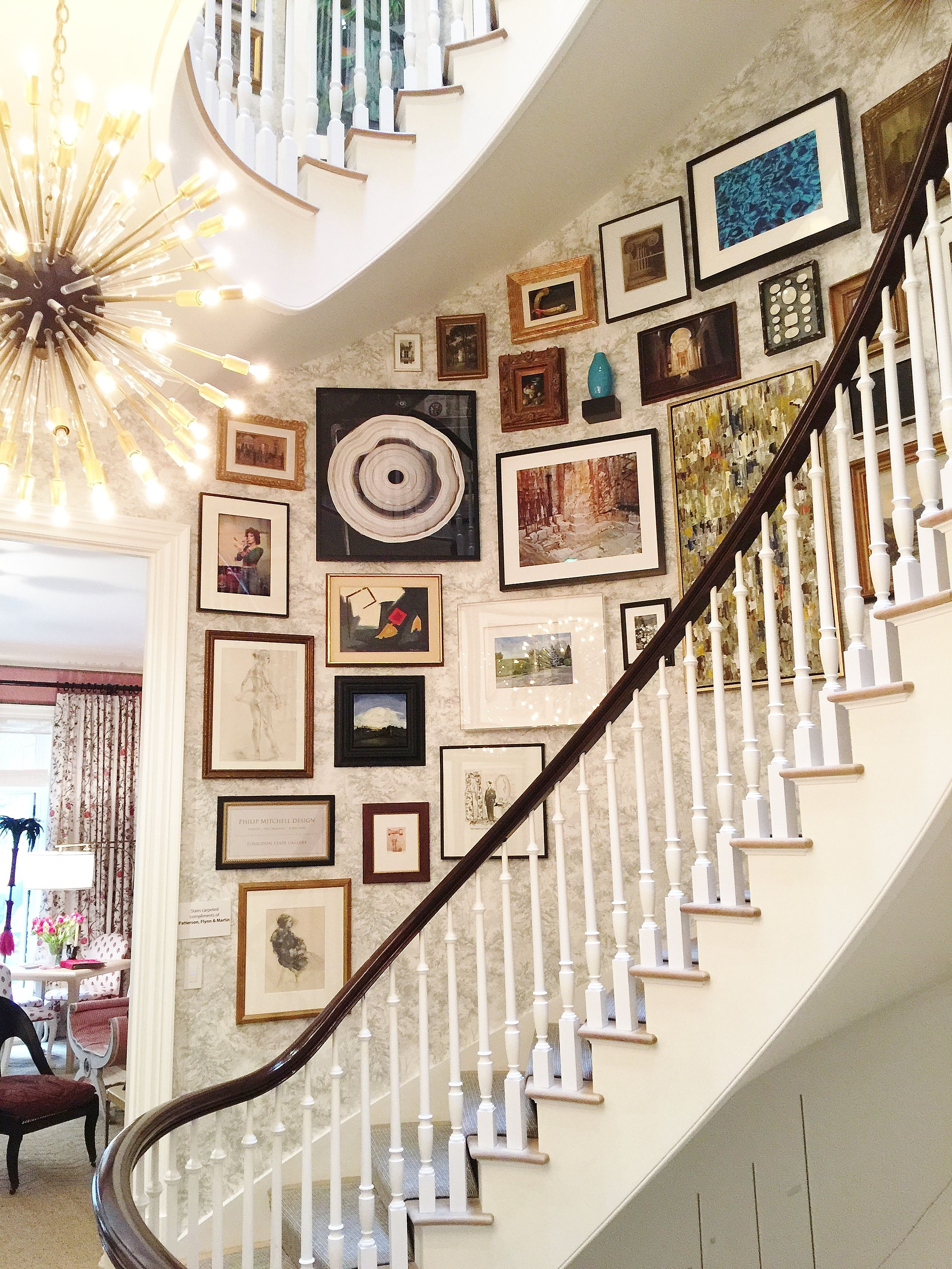 Laurie Gorelick Interiors Blog Gallery Wall Staircase Stairway Gallery Wall Curved Staircase