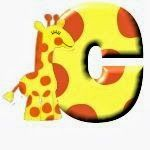 Alfabeto con jirafa feliz.