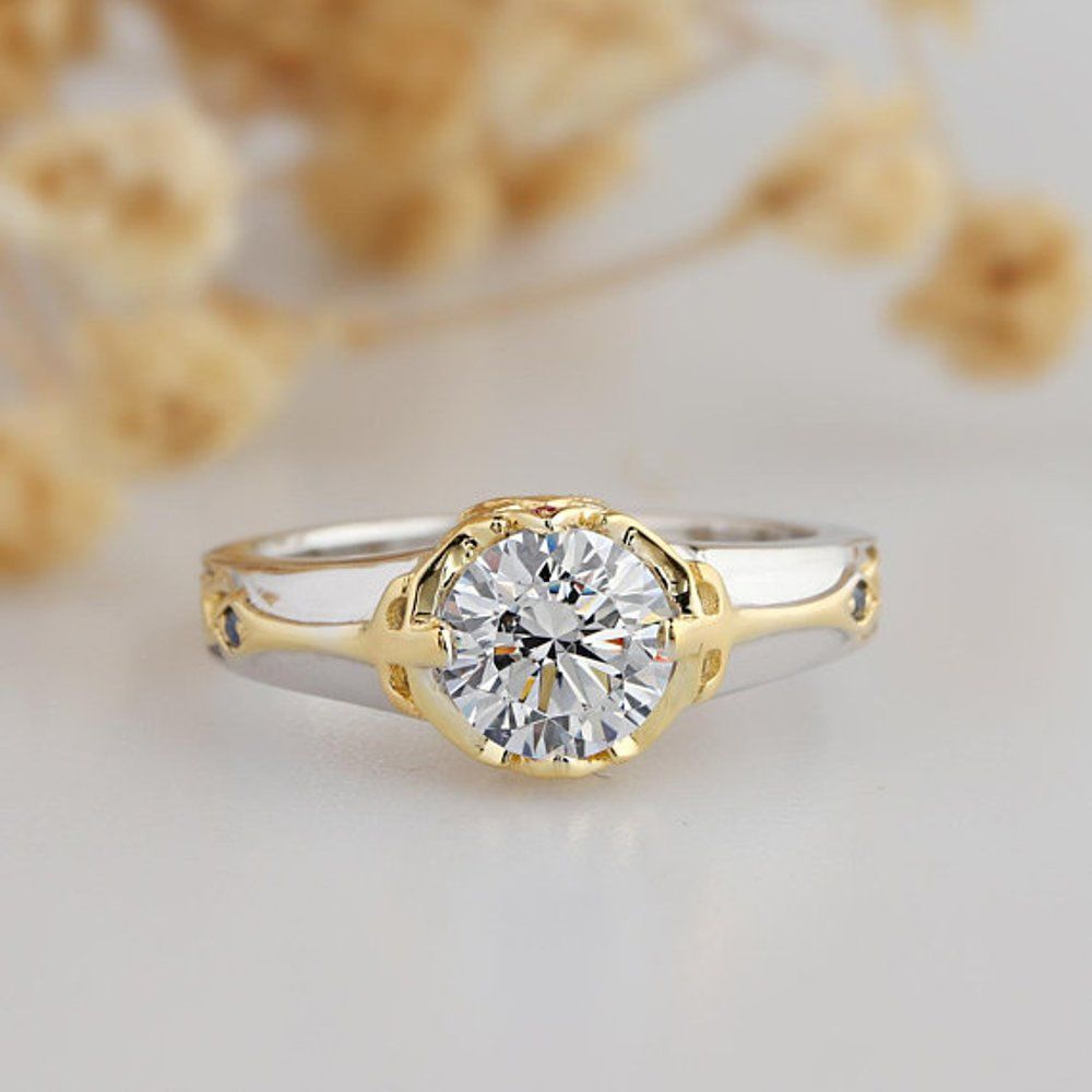 ct real moissanite solitaire engagement ring yellow gold over