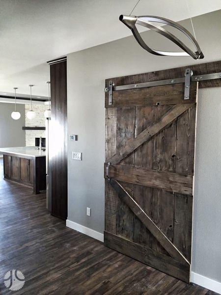 Custom Finish Gray Wash Sliding Barn Door With Brushed Steel Rustica Hardware Reclaim Repurpose Reuse Reclaime Wood Barn Door Staining Wood Dark Wood Stain
