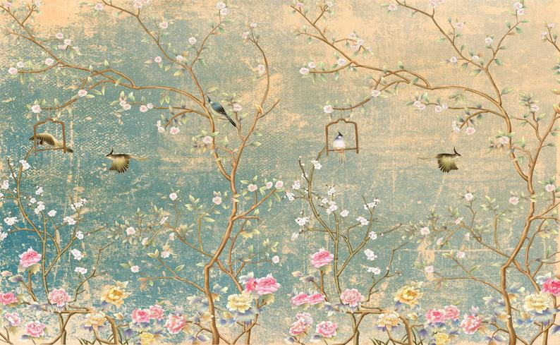 Peel-and-Stick Removable Wallpaper French Green Illustration Vintage Floral