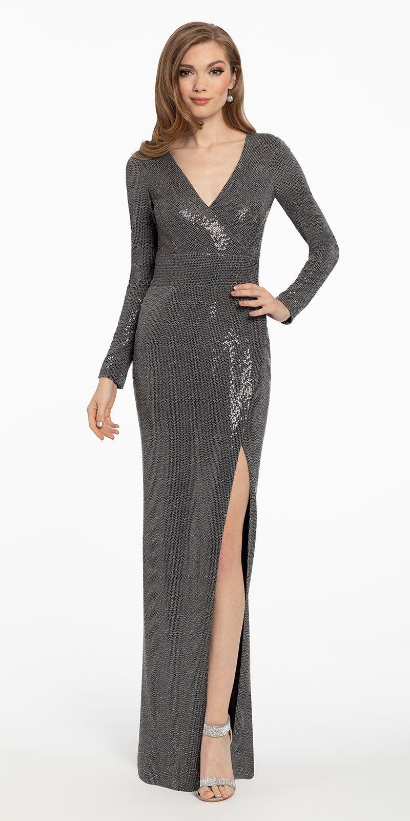 Long Sleeve Sequin Knit Surplice Bodice Dress Dresses